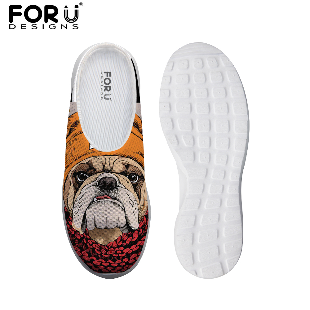 FORUDESIGNS Cool Bulldog Printed Women Casual Sandals Light Weight Beach Breathable Mesh Sandals for Female Flats House Slippers 2018 women closed toe beach slippers eva light weight breathable sandals for women chinese style print simple garden clogs shoes