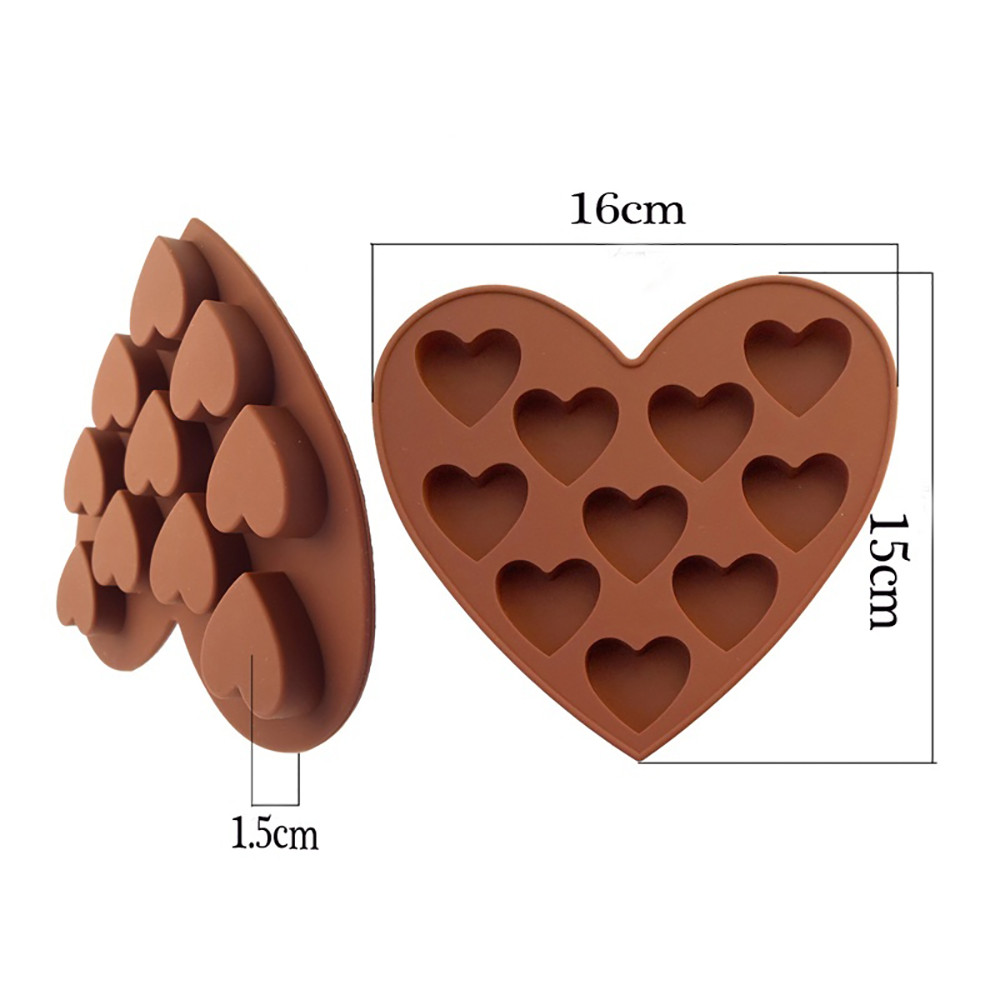 love Heart Shape Coffee color Silicone Molds Fondant Cake Mold Kitchen Chocolate