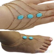 New Arrived 2 types ankle bracelet and Bracelet Bangle Slave Chain Link Finger Hand Harness Turquoise Anklets Chain 00C3
