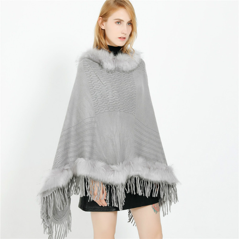 Elegant Winter Cashmere Pashmina Women Scarf Shawls Lady Poncho Capes Tassel Soft Warm Noble Solid Striped Fur Collar Stoles