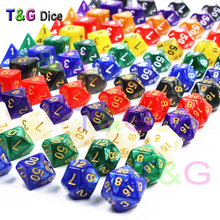 New 7pc/lot dice set High quality Multi-Sided Dice with marble effect d4 d6 d8 d10 d10 d12 d20 DUNGEON and DRAGONS rpg dice game(China)