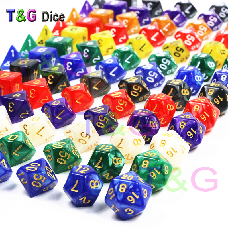 New 7pc Lot Dice Set High Quality Multi Sided Dice With