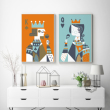 King And Queen Nordic Style Dining Room Decoration Canvas Print Painting Table Kitchen Hanging Bedroom