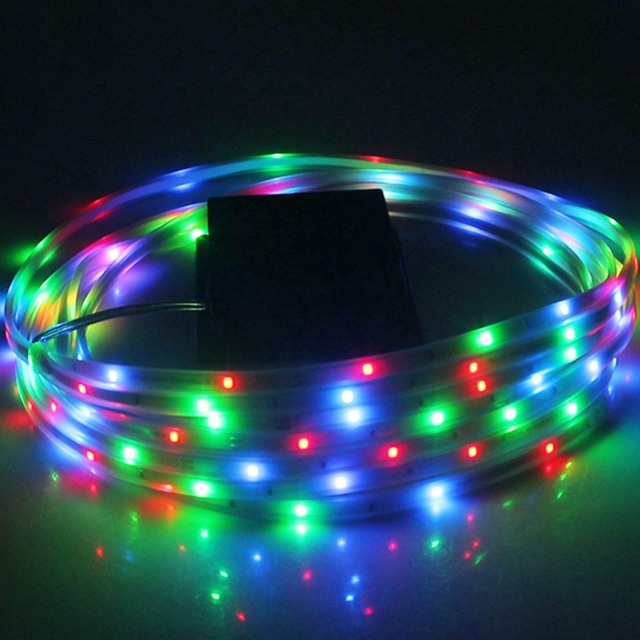 100 Led Solar Strip Light Neon Rope Rgb String Fairy Lights Waterproof Outdoor Garden Lawn Christmas Party