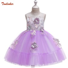 Kids Flower Dress High Quality Flower Girl Party Pageant Princess Dress For Little Girls Pink Appliques First Communion Dress 3- little flower girl dresses crew neckline with collar lace appliques a line white little girls first communion pageant dress 2017