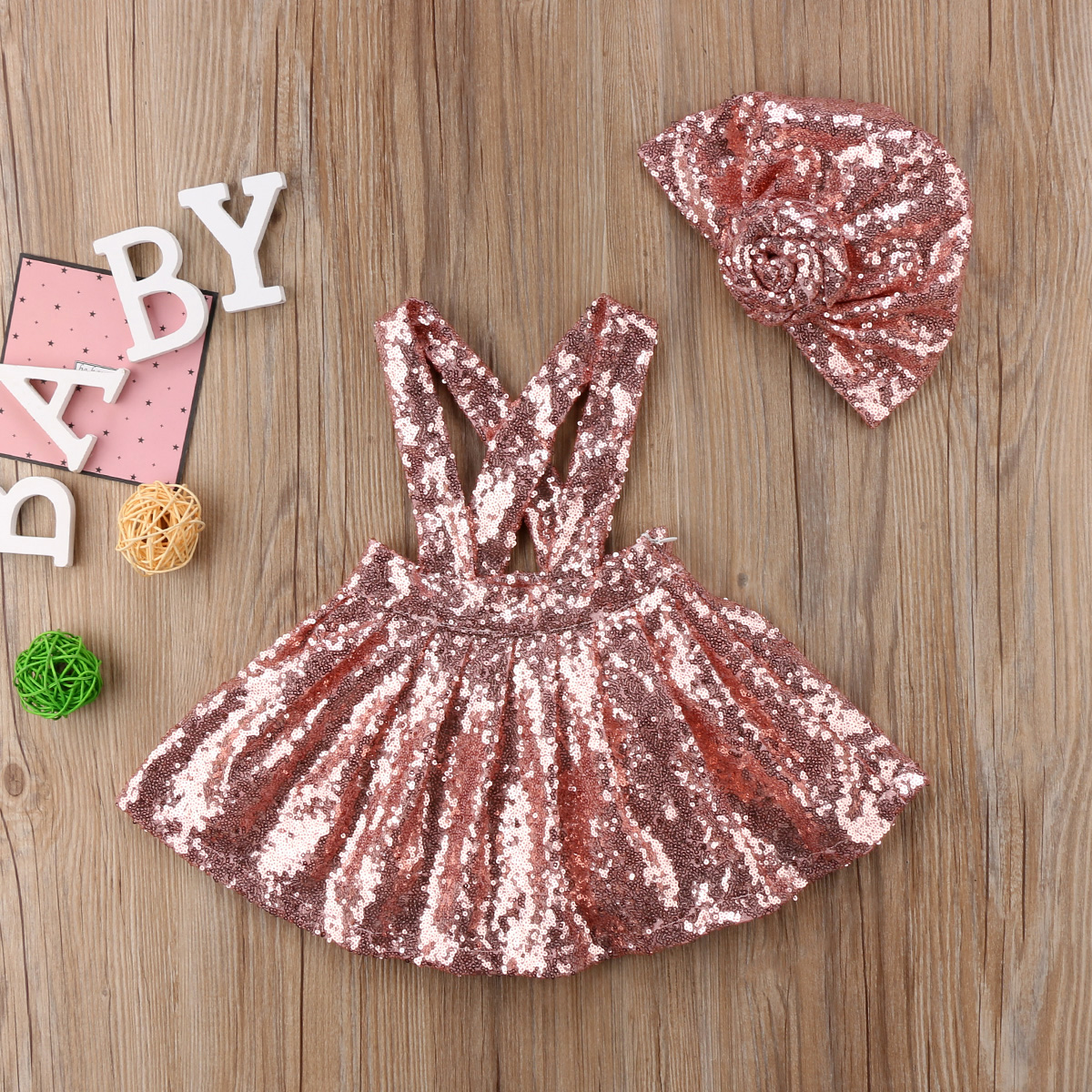 Trend Mark Sequin Kids Baby Meisjes Jarretelle Overalls Jarretel Jurk 2 Stks Hoed Outfits Kleding Yu