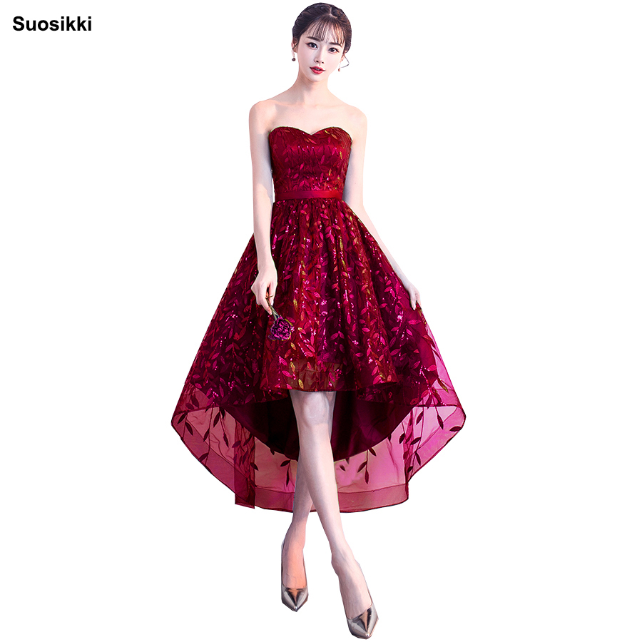 Suosikki Strapless Pleat Lace Up High-low Asymmetry Vintage Elegant Flowers Taffeta   Prom   Gown Dancing Party   Prom     Dresses   LX018