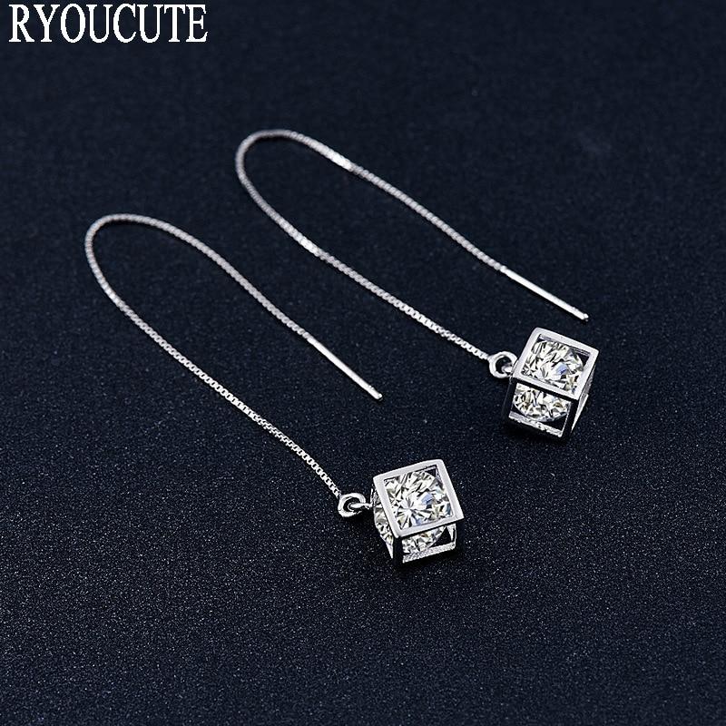 RYOUCUTE New Arrivals Silver Color Zirconia Stud Earrings For Women Brincos Pendientes