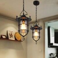 Retro Estilo Armazém Abajur Iluminação Interior Pingente Luzes Gaiola de Ferro Do Vintage Lanterna Luz Lâmpada Sótão