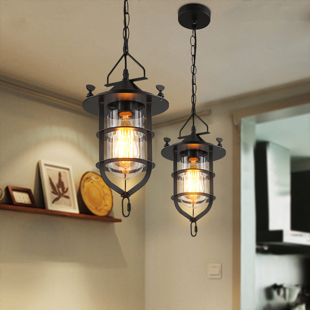 Retro Indoor Lighting Vintage Pendant Lights Iron Cage Lampshade Warehouse Style Light Lantern