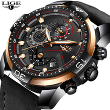 LIGE New Men Watches Top Brand Luxury Leather Quartz Clock Male Sport Waterproof Men Fashion Men Wristwatch Relogio Masculino