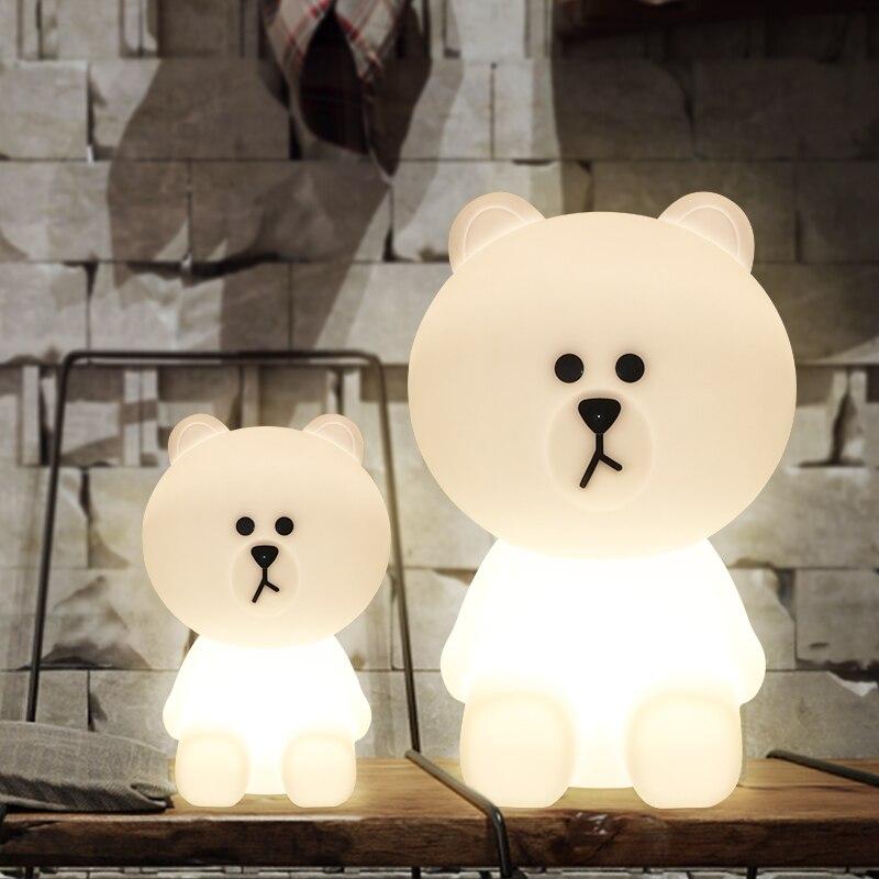 urso marrom bonito urso lampada lampe lamparas led lampada de mesa luz da noite das criancas