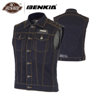 BENKIA Summer Motorcycle Vest Men Vintage Retro Style Denim Motorbike Waistcoat Cafe Racer Cruiser Riding Moto Vest Sleeveless