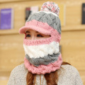Hat Scarf Set for Women Casual Winter Snow Ski Cap Warm Plush Baggy Knitted Earflaps Beanies