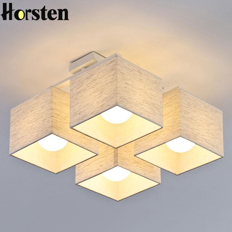 Horsten Nordic Europischen Einfache Stoff Deckenleuchten 4 6 9 Kpfe Schlafzimmer Deckenleuchte Moderne Wohnzimmer