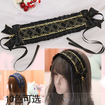 Vintage Japanese Gothic Lolita Girl Cross Pendant Headband Lace Bow Headwear Cosplay Hair band Hairpin Accessories 13 Colors