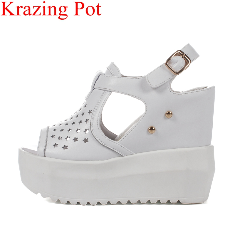2018 fashion peep toe solid hollow high heels wedge women sandals buckle strap platform casual vacation rivet summer shoes L95