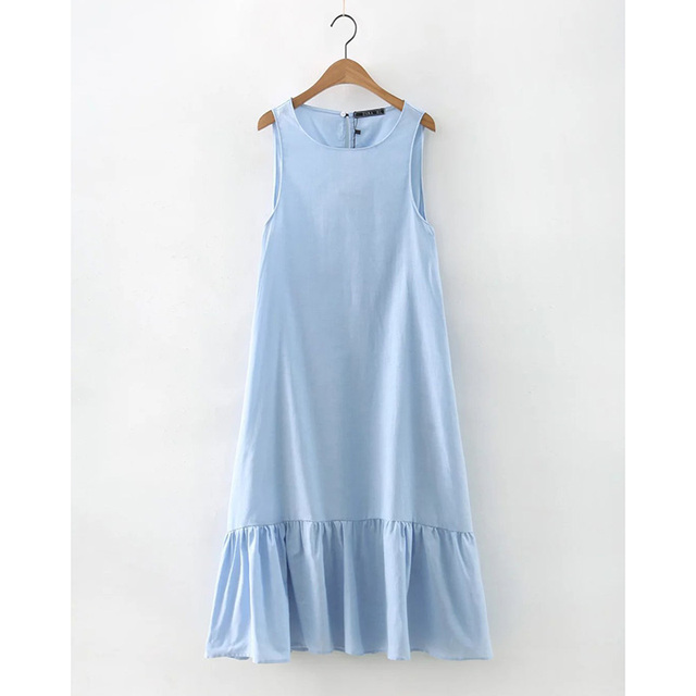 Solid Color Fashion Summer Women Long Tank Dress Sky Blue Ruffles Summer Casual Dress Sleeveless Loose Casual Dress KH804184