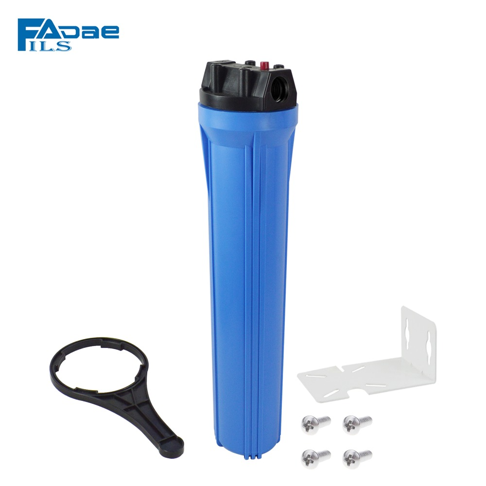 20 Inch Standard Slim Line 2 5 x 20 Blue Filter Housing 1 inch Plastic port