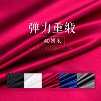 40 мм Широкий Тяжелая шелковая ткань сплошной цвет стрейч атласа шелковой ткани роскошные шелковые ткани для платье оптовая продажа шелково