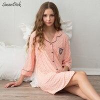 2017 Mulheres Marca de Algodão de Qualidade Camisola Sleepshirts Pijama Das Senhoras do Outono do Verão Dot Cardigan Desgaste Doméstico Casual Sexy Vestido de Noite