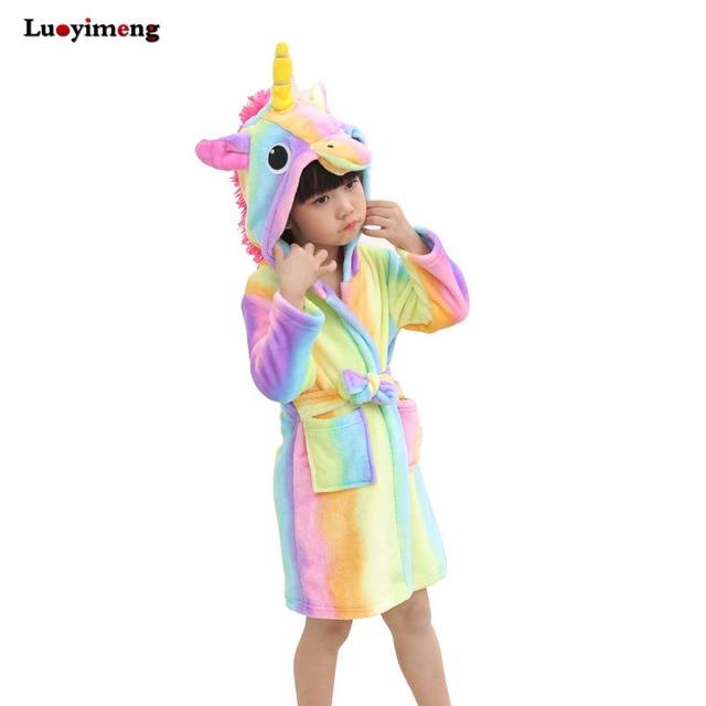798f8795e6 Children Towel Beach Baby Bath Robe Animal Rainbow Unicorn Hooded Bathrobes  For Boys Girls Pyjamas Nightgown