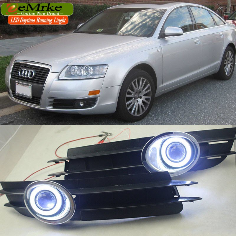 EEMRKE FOR Audi A6 C6 2004-2011 COB LED Angel Eyes DRL Daytime Running Lights Tagfahrlicht Halogen Bulbs H11 55W Fog Light Head
