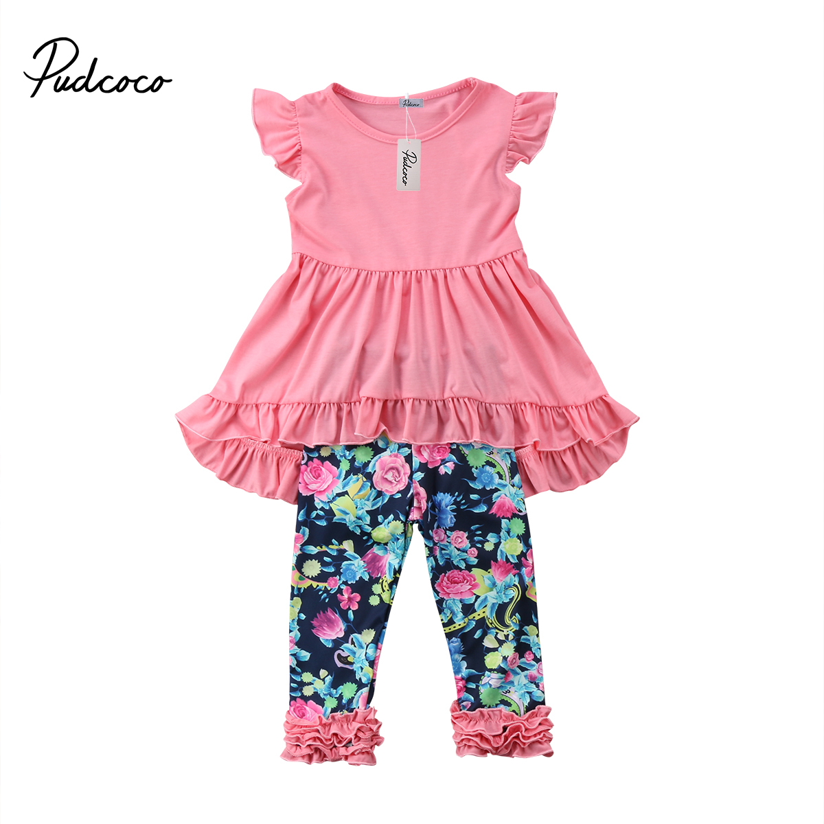 Toddler Kid Baby Girl Clothing Sleeveless Blouse Tops Floral Long Pants Leggings Summer Outfit Set 2pcs
