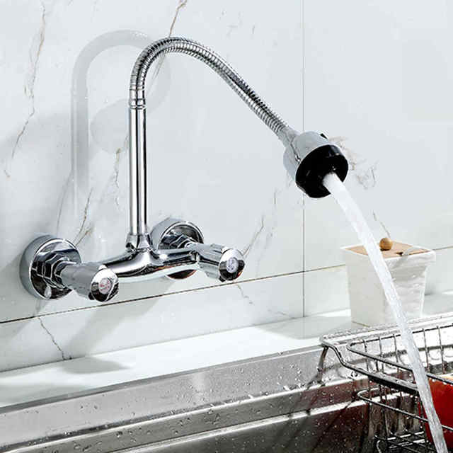 Mayitr Wall Mount Kitchen Sink Faucet 360 Degree Pipe Swivel Pull