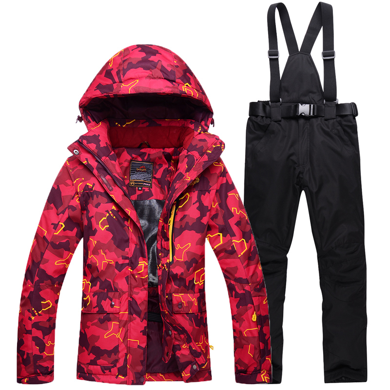 Women Snow Costumes Outdoor Sports Ski Suit Sets Snowboarding Clothing -30 Winter Waterproof Camouflage Dress Jacket +bib Pant