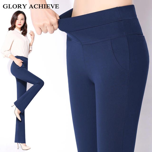 Trousers For Women 2018 Spring Plus Size pantalon femme High Waist Elastic  Work Wear Flare Pants Elegant OL Women Long Pants 6ec1e363a9b0