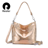 REALER Women Handbags Genuine Leather Crossbody Shoulder Bags Female Animal Prints Messenger Hobos Bags Ladies Small