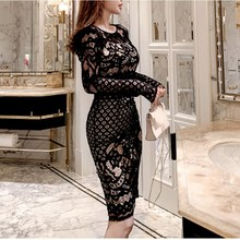2019 Women Elegant Skinny Floral Pattern Bodycon Dress Sexy Hollow Out Long Sleeve Lace Dresses Sheath O-Neck Party Dress цена и фото