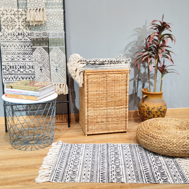 100% Cotton Hand Woven Kitchen Rugs Super Cozy Soft Machine Washable Durable Area Rug Geometric Striped Tassels Carpet Yellow
