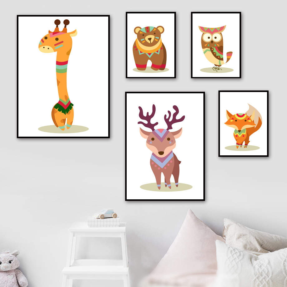 Cartoon Bear Deer Giraffe Owl Fox Wall Art Canvas Painting Posters And Prints Nursery Pictures For Baby Girl Boy Room Decor