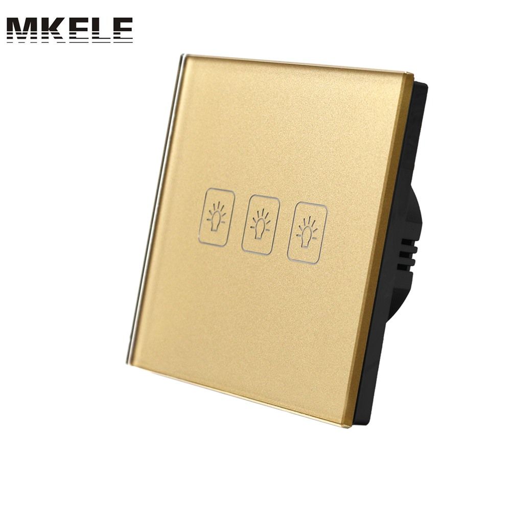 Touch Switch 3 Gang 1 Way EU Standard Gold Touch Screen wall switch wall socket for lamp touch switch eu standard 3 gang 1 way light switch touch screen wall switch wall socket for lamp