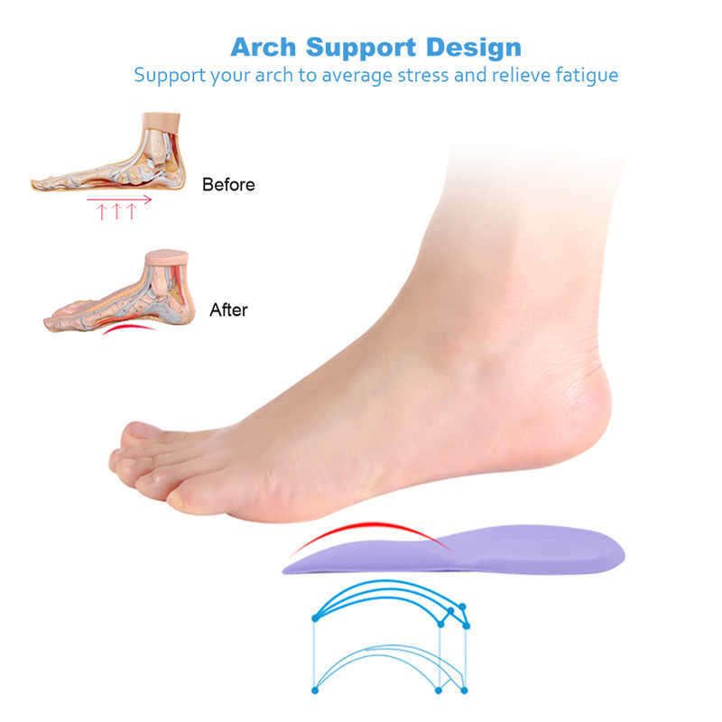 Sunvo 3/4 Length Orthopedic Arch Supports Shoe Insoles Heels Pads for Women High Heel Shoe Liners Shoes Sole Inserts Insole Pad