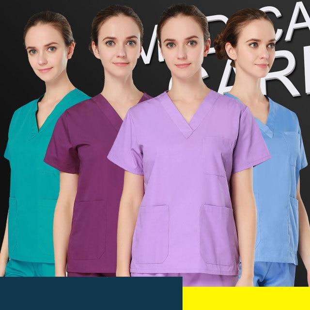 plus size Women's V neck Summer men Short sleeve Nurse Uniform Hospital pants Medical Set Clothes Short Sleeve Surgical Scrubs