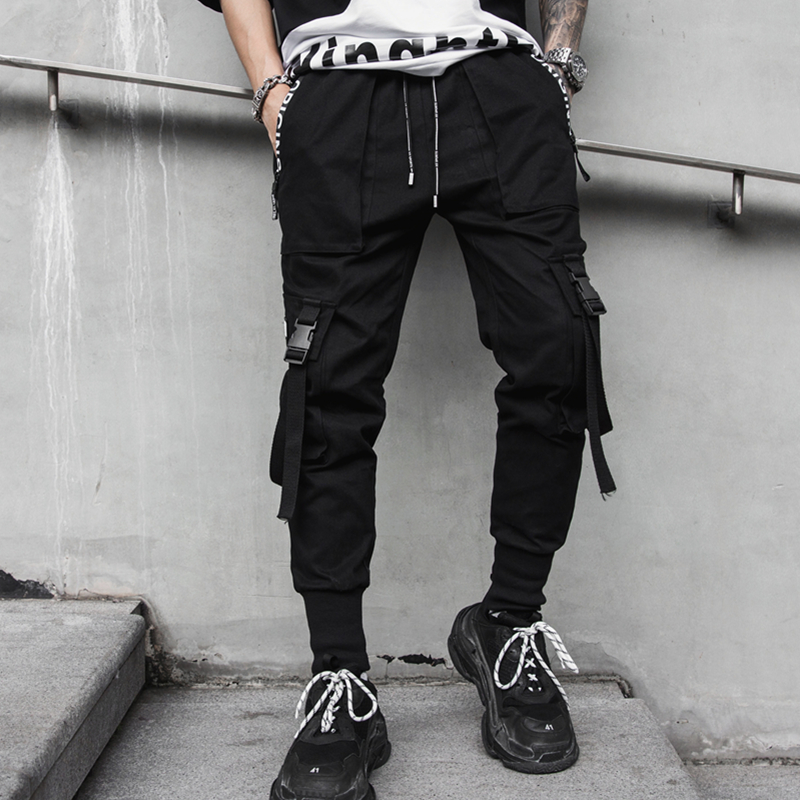 2019 New hip hop streetwear cargo ribbons pants men fitness clothing mens tousers overall casual pants drop shipping LBZ65