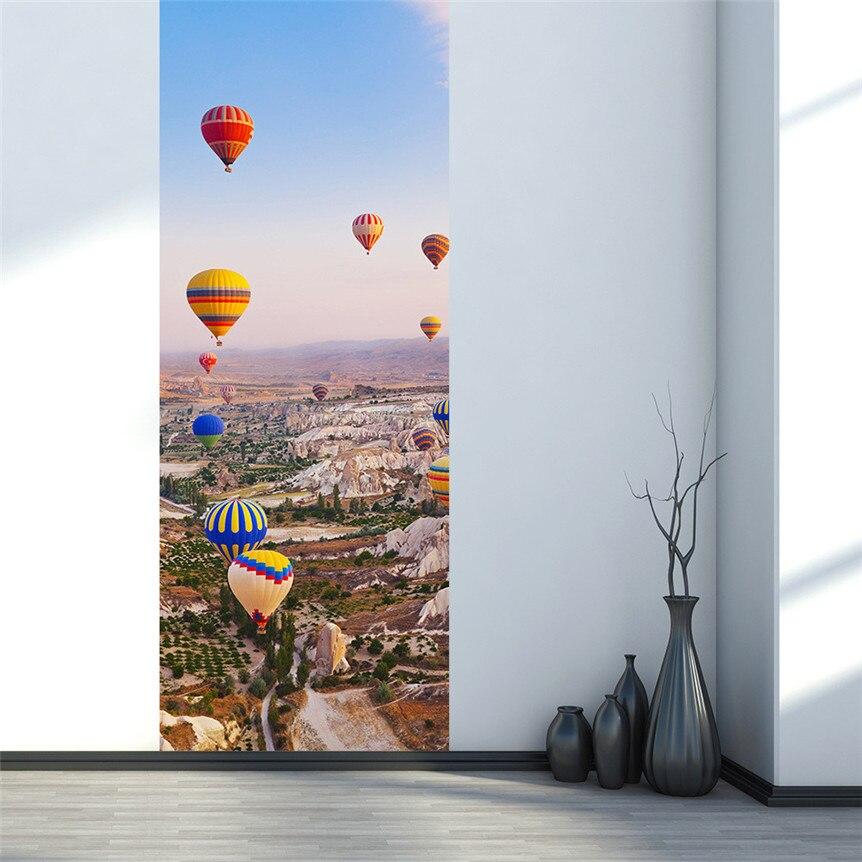 Lovely Pet Door Fridge Sticker Turkey Hot Air Balloon 3D Mural Stickers  Home Decoration Drop Shipping