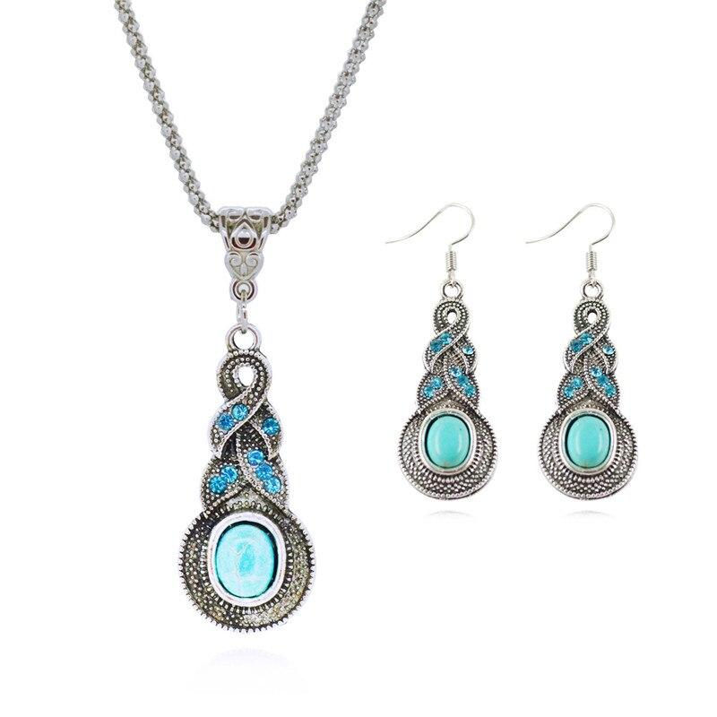Fashion Jewelry Sets Tibetan Green Stone Chain Necklace & Pendants ...