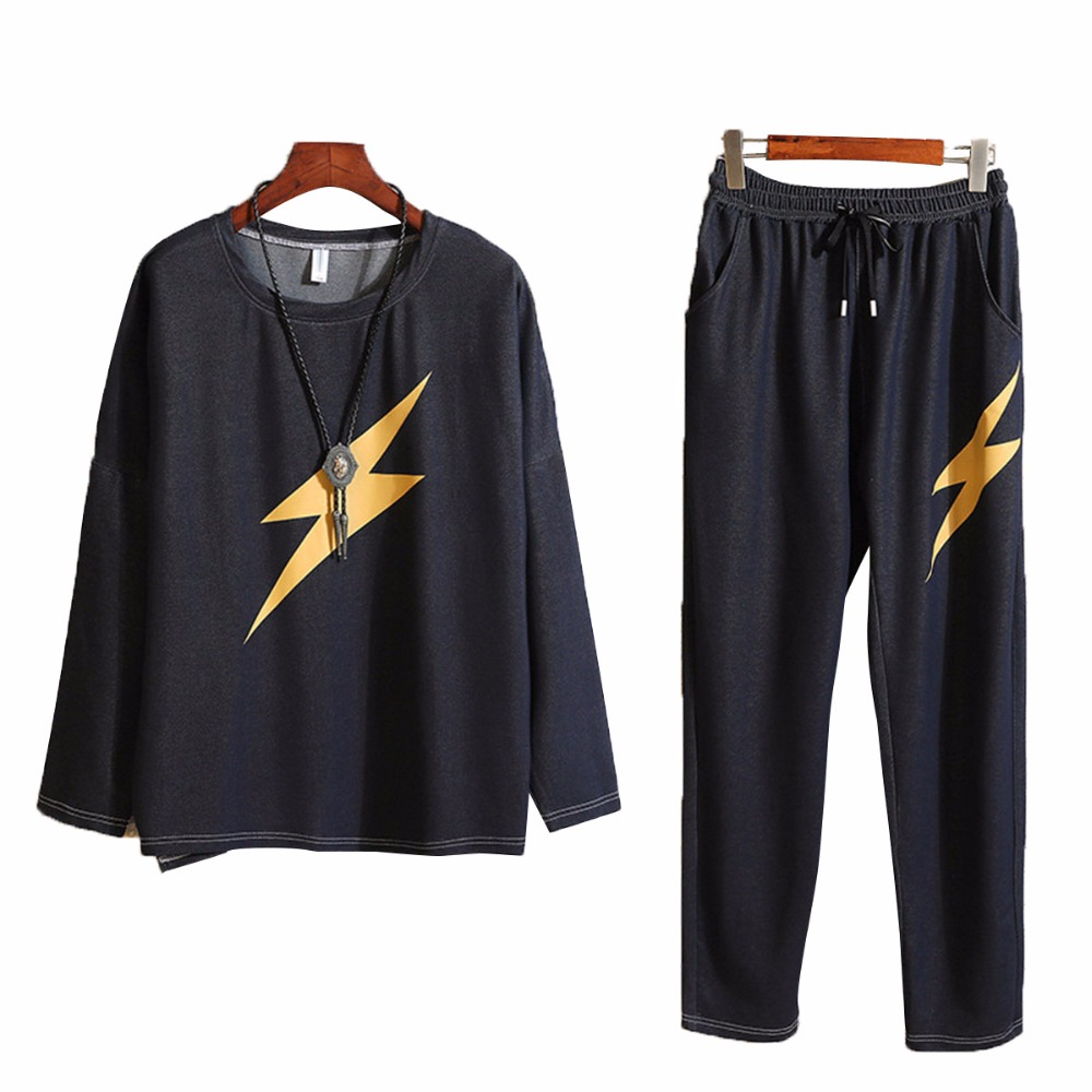 Fashion brand men sets loose lightning print design mens tracksuit male sweatsuit sweat suits long sleeve t shirt Casual pants