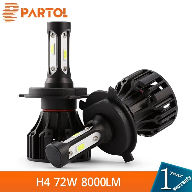 Partol 72W 8000LM H4 LED-esitulede pirnid maastikul Auto LED-lamp COB - Autotuled