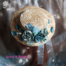 Sweet Lolita Cosplay Mori Girls Mini Straw Boater Hat with Painting Flower and Ribbon