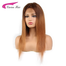 Carina Ombre Full Lace Human Hair Wigs With Baby Hair Natural Hairline Brazilian Human Non-Remy Hair Color 2 Tones Gluelss Wigs