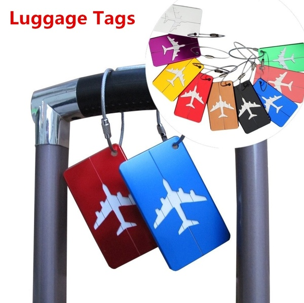 1pcs Aluminum Alloy Luggage Tag Travel Baggage Airplane Tag Name Address Label image