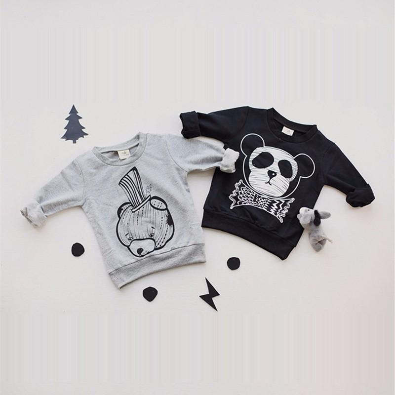 4For Boys Girls Sweater T-Shirts Clothes Autumn Winter New Panda Bear Printing Tops Kids Sweatershirt  Tees Clothing Full Sleeve 16