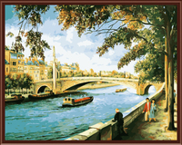 Frameless Pictures Painting By Numbers DIY Digital Oil Painting On Canvas Home Decoratin 40x50cm River Scenery