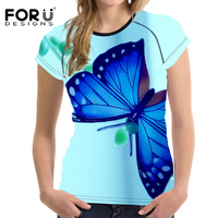 FORUDESIGNS Blue 3D Butterfly Prints T Shirt Women Fitness T Shirts Animal Casual Tees Tops Shirts