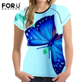 FORUDESIGNS Blue 3D Butterfly Prints T Shirt Women Fitness T Shirts Animal Casual Tees Tops Shirts O Neck Cropped Tops Summer